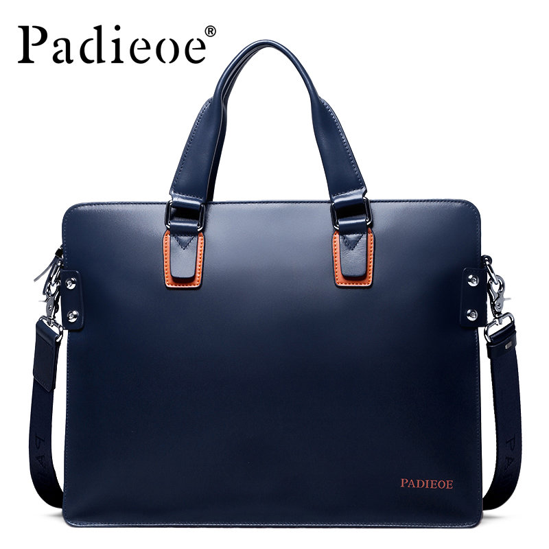 Padieoe New Fashion Genuine Leather Handbag Business Men Messenger Bags Luxury Brand Men Briefcases Designer MaleTote Laptop Bag padieoe fashion luxury designer brand men bag genuine leather handbag business male shoulder messenger bags