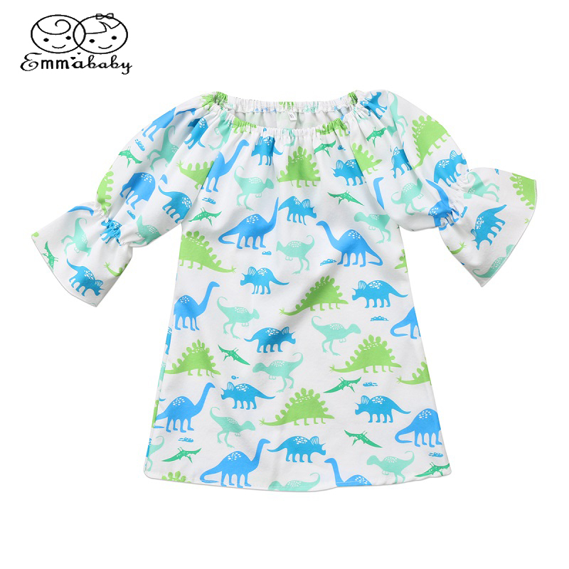 US Newborn Kids Baby Girls Blue Romper Party Dinosaur Tutu Dress Clothes Outfit