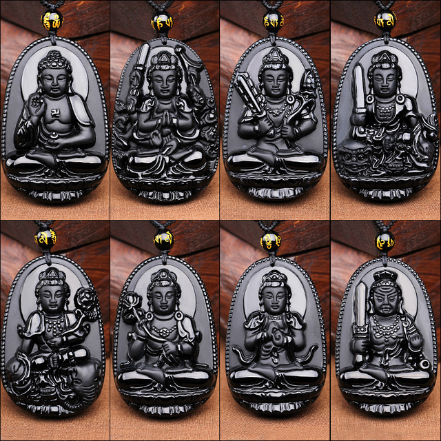 JoursNeige Natural Obsidian Pendant Eight Guardian Twelve Zodiac Natal Buddha Amulet Lucky Necklace Opening For Women Men Jade