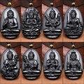 JoursNeige Naturales Colgante de Obsidiana Ocho Guardián Doce Zodiaco Natal Buda Amuleto Lucky Apertura Collar Para Las Mujeres de Los Hombres de Jade