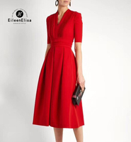 Elegant Long Dresses 2018 High Waist A Line Dress Luxury Women Spring Party Dress V Neck Solid Dress Red