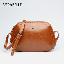 VERABELLE 2017 purses female high quality split leather cowhide small lovely shoulder oil-wax women shell messenger bag