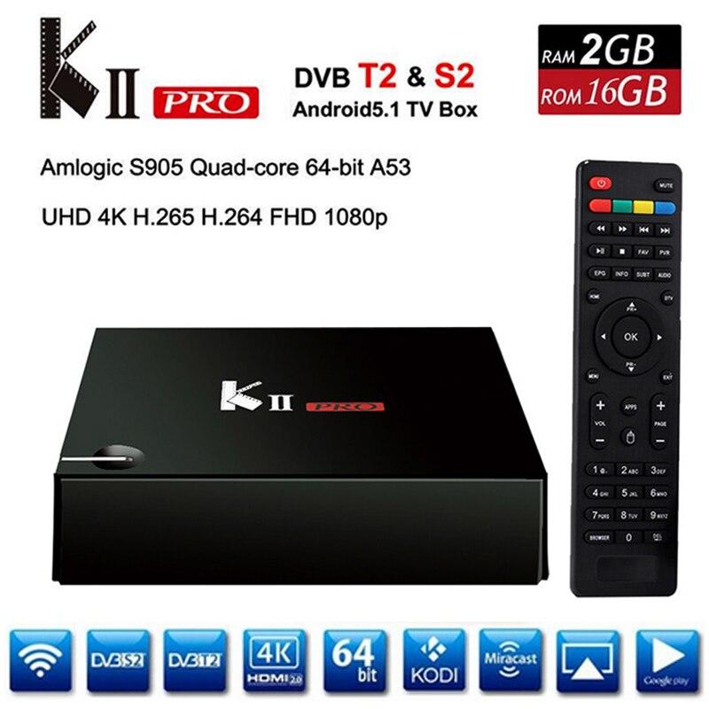 KII Pro Android 5.1 TV Box Amlogic S905 BT4.0 Media Player 2G+16G Dual WIFI IPTV DVB-S2/T2 K2 PRO Set Top Box Satellite Receiver beelink mini mx ver 1 0 tv box android 5 1 2g 16g amlogic s905