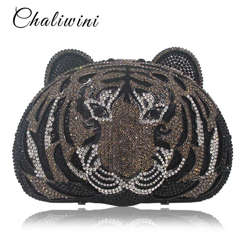 Animal tête de tigre complet diamant métal luxe sac de soirée pochette femmes Diamante mariage sac à main sacs cristal sac de soirée