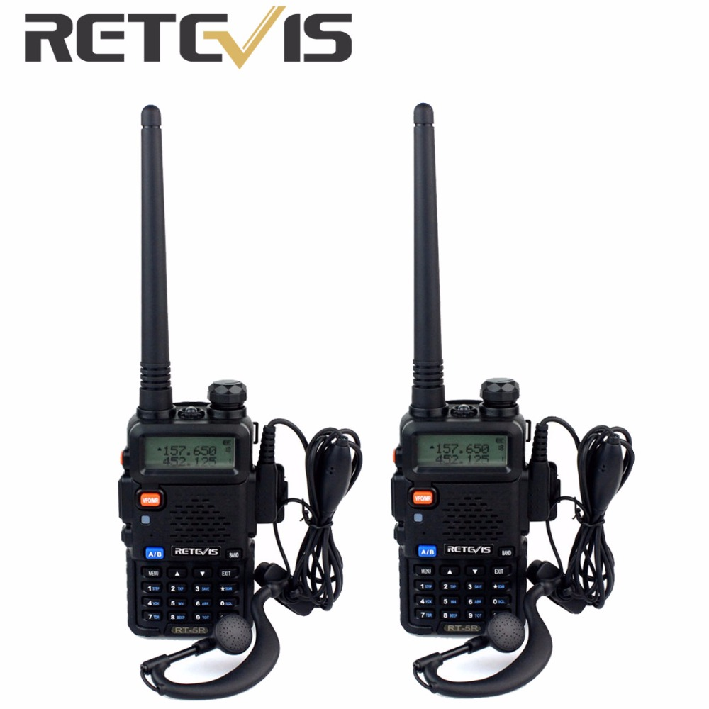 2pcs Retevis RT 5R Walkie Talkie VOX 5W 128CH UHF VHF Ham cb Frequency Two Way