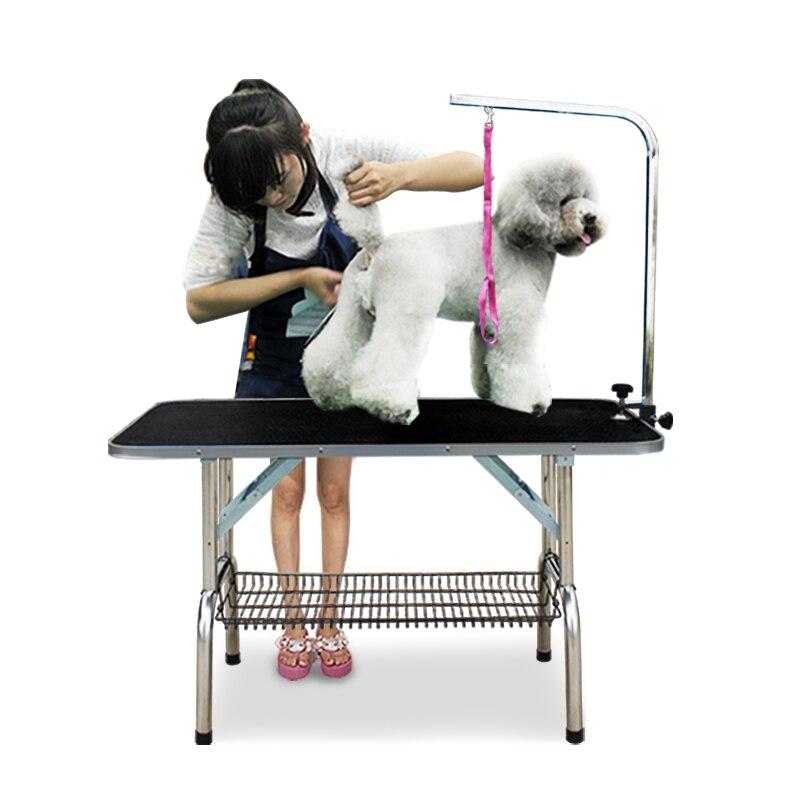 Дешевый складной стол для ухода за домашними животными из нержавеющей стали для маленьких питомцев, портативный Рабочий стол, резиновая поверхность, стол для ванной, голубой, розовый