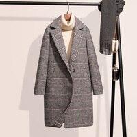 TAJIYANE Autumn Winter Coat Women Vintage Plaid Jackets Korean Long Ladies Coats Woolen Coat Abrigos Mujer Invierno 2018 ZL295