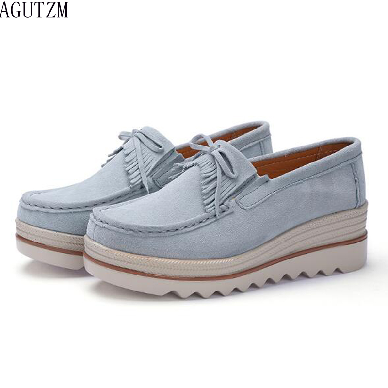 2018 Spring Women Flat Platform Shoes   Suede     Leather   Tassel Slip on Loafers Flat Women Moccains Fringe Casual Creepers Shoes V412