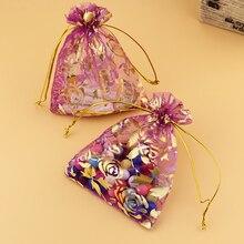 13x18cm Hot Pink Gift Bags 100Pcs/Lot Large Can Be Custom Logo Drawstring Packaging Organza Rose Printing Wedding Favors Bag