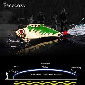 Image 3 - Facecozy Metal Vib balıkçılık Lures yem 45mm 7.3/9.3g levrek 1 adet yapay yem batan balıkçılık cazibesi titreşim 8 # kanca 3D gözler