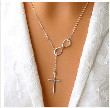 2017 Hot Sale Simple Women Sexy Cross Infinite Lariat Pendant Gold Silver Tiny Chain Choker Necklace Collier Bijoux Jewelry