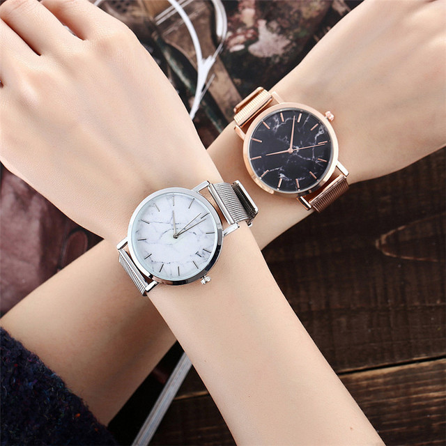 Vansvar Brand Fashion Silver And Gold Mesh Band Creative Marble Wrist Watch Casual Women Quartz Watches Gift Relogio Feminino 5