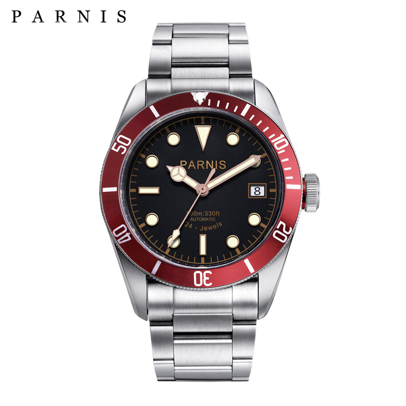 41 мм Парнис автоматические часы Полный Нержавеющаясталь световой 21/24 Jewle Элитный бренд Для мужчин механические часы PA6050 подарки для Для му...
