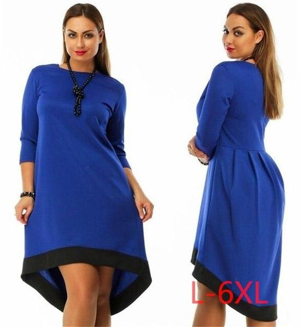 5XL 6XL Большой Размер 2017 Весна Зима Dress Большой Размер повседневная Красный Черный Dress Асимметричный Dress Плюс Размер Женской Одежды Vestidos