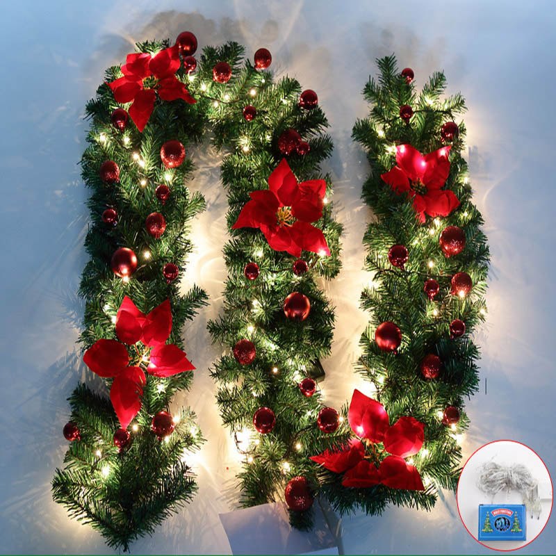 0 0 Christmas Garland With Led String Lights Ball Ornaments