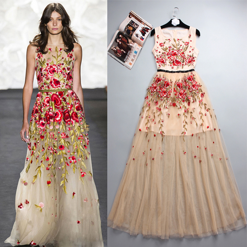 Maxi Party Dress Lace Flowers Embroidery