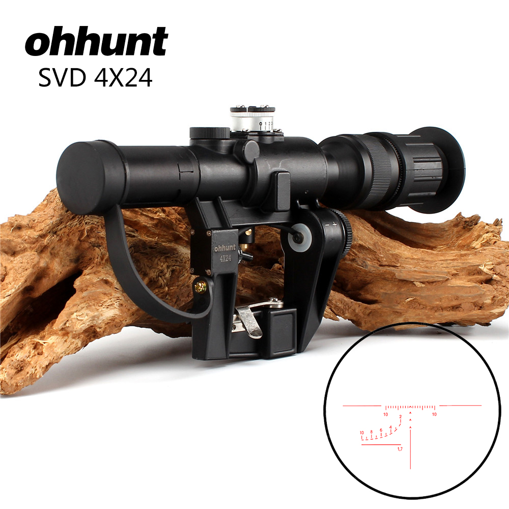 ohhunt SVD 4x24 PSO-1 Type RifleScopes Red Illuminated Glass Etched Reticle Scope for Tactical AK Dragonov Sniper Series Rifle red illuminated 4x24 pso 1 type scope for dragonov svd sniper rifle series ak riflescope hunting trail rifle scopes