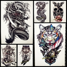 1PC Sexy Men Women Temporary Tattoo Stickers GQS-A061 Evil Roaring Chinese Dragon Paw Design Waterproof Transferable Arm Tattoos