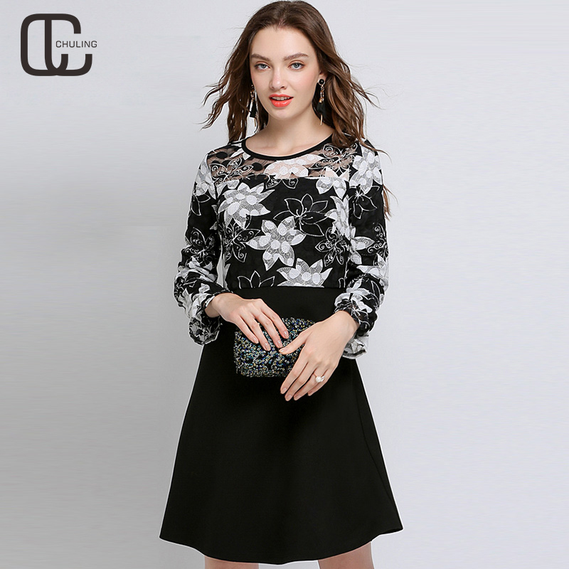 New 2019 Spring Autumn Women's Floral Lace Patchwork