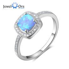 Mujeres 100% 925 plata esterlina anillo con cuadrado azul OPAL piedra océano estilo elegantes regalos para mamá (jewelora RI102813)