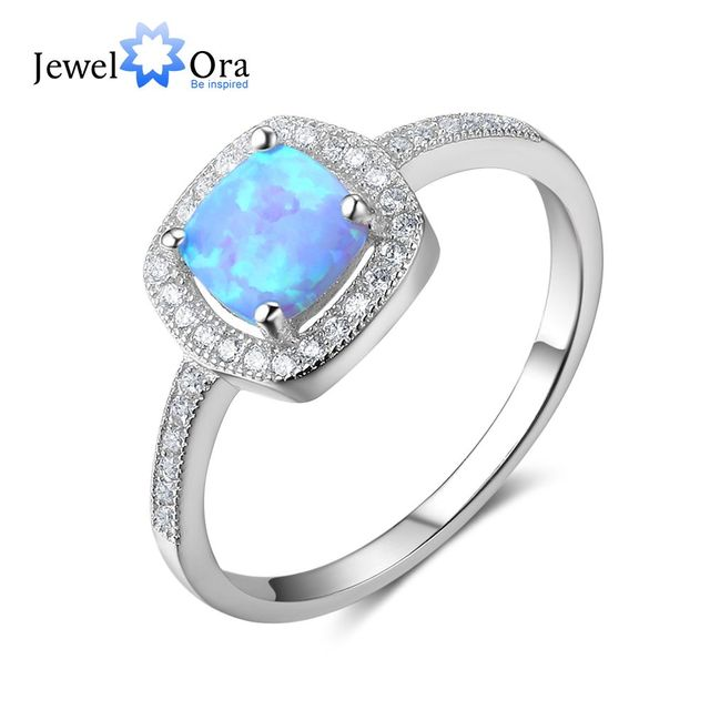Women 100% 925 Sterling Silver Ring With Square Blue Opal Stone Ocean Style Elegant Gifts For Mommy (JewelOra RI102813)