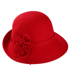 Image 5 - England Style Ladies Wool Fedoras Hats Black White Flower Wool felt Hat Fashion Women Church maison michel Cloche Hat Cap