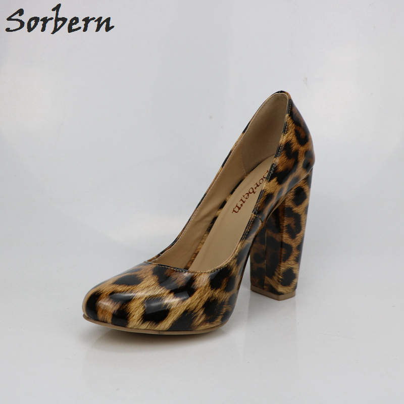 Sorbern Leopard Shiny Women Pumps Chunky High Heels Slip On Shoes Ladies Pumps Women Shoes Plus Size High Heel Custom Colors