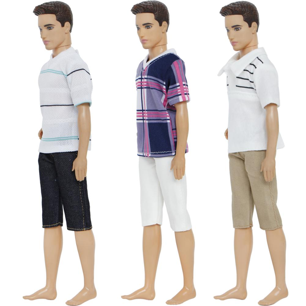 Handmade Fashion 3 Sets Men Casual Outfit Mixed Style Stripe Grid T-shirt Pants Clothes For Barbie Ken Doll Accessories Gifts fashion easy matched stripe pattern shirt