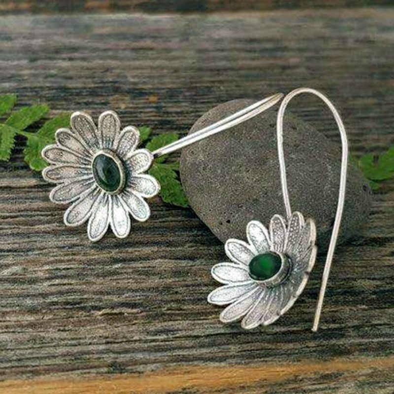 Vintage Ethnic Flower Drop Hanging Earring for Women 2019 Fashion Lovely Ear Pendant Dangle Earrings Jewelry Accessories O5E687