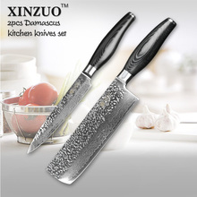XINZUO 2 pcs kitchen knife set Japanese Damascus kitchen knife set cleaver VG10 chef utility hammer striae forging free shipping