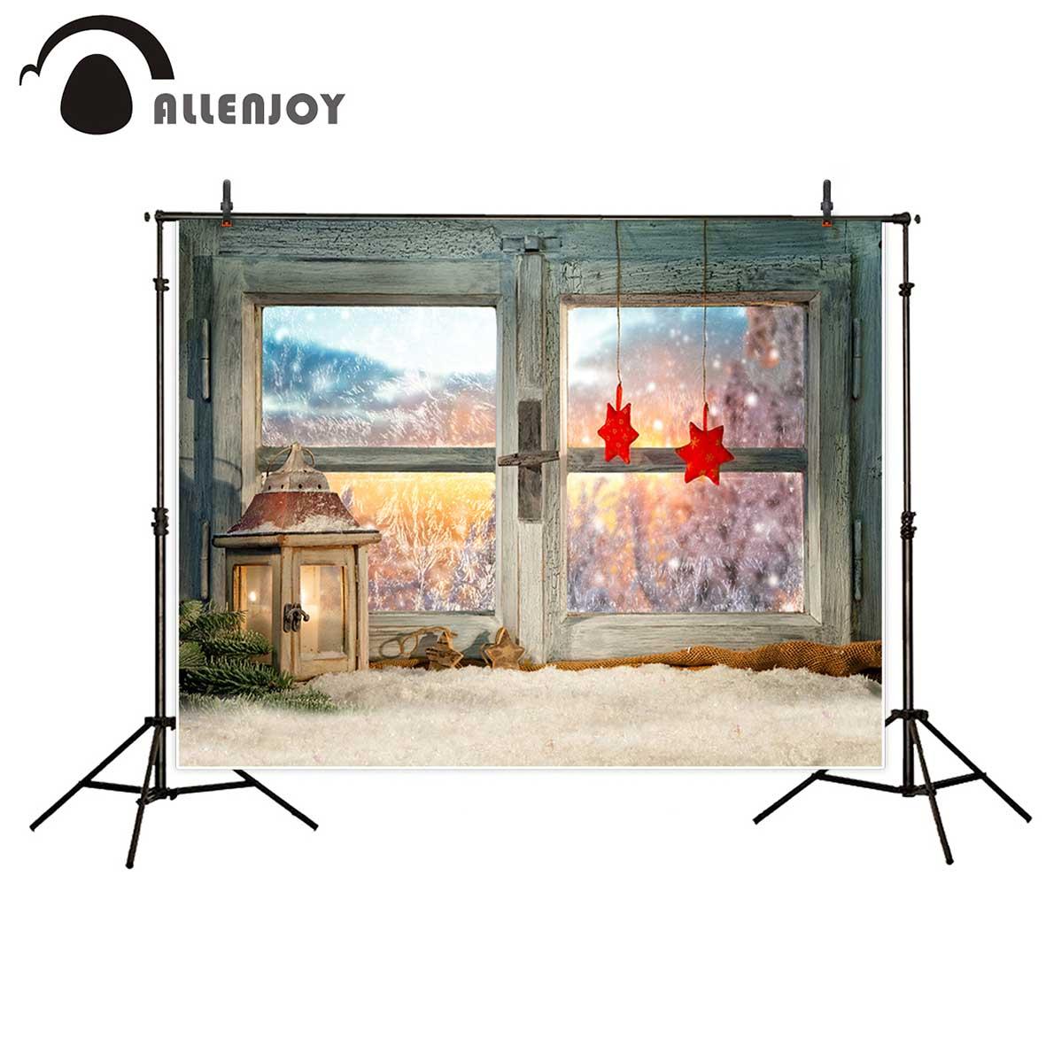 Allenjoy photography background atmospheric christmas window sill decoration beautiful sunset backdrop Photo background studio
