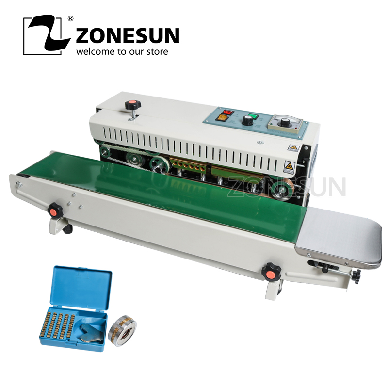 ZONESUN FR-900 Metal With Spray Table Type Continuous Sealer Plastic Bags Sealing Machine With Conveyor Belt For Food Tea Bag applicatori di etichette manuali