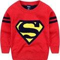 Novo 2017 Meninos Camisolas Superman Meninos Impressão Pullover Blusas de Malha Primavera & Outono Crianças Roupas Roupas Crianças Frete Grátis
