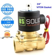 U.S. Solid 1/2″, 3/4″, 1″ Brass Electric Solenoid Valve NPT Thread Normally Closed 24 V 12V DC 24V 110V 220V AC