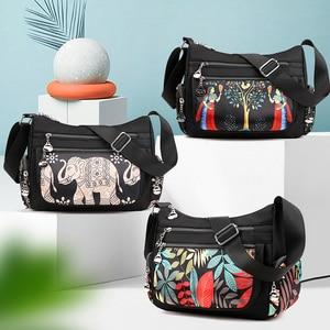 Image 5 - Fashion Cartoon Printing Bag Multi Pocket Women Shoulder Bag High Quality Waterproof Nylon Fabric Messenger Bag Female Handbag