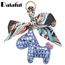 Dalaful Horse Scarf Keychains Leather Keyrings Purse Bag Pendant Gift For Girls Womens Key Chain Rings Holder K344