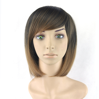 Short BOBO Wigs Women Hair Cosplay Wigs Synthetic Hair Heat Resistant Wig Black To Brown Straight Hair