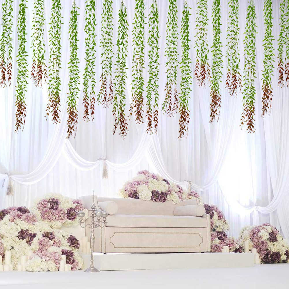 6 pièces/ensemble artificielle saule feuilles Simulation vert plante maison jardin tenture murale vignes Faux verdure plante pour la décoration de fête