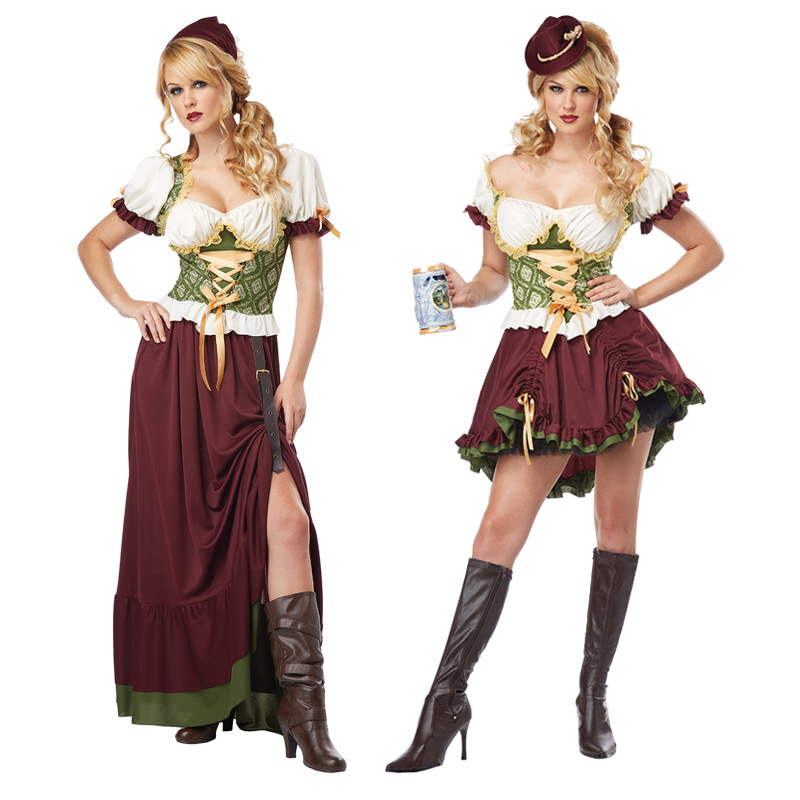 Free Shipping Oktoberfest Beer Maid Peasant Dress German Wench Oktoberfest Fancy Dress Hot Sexy Halloween Cosplay Costume New