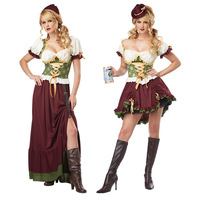 Free Shipping Oktoberfest Beer Maid Peasant Dress German Wench Oktoberfest Fancy Dress Hot Sexy Halloween Cosplay Costume New