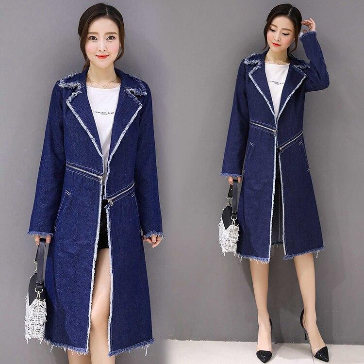 Long Grande vent 2017 Hiver Automne 4xl Plus Blue Mince Longue Bavures Taille Printemps Féminin Denim Manteaux Femme Y1060 Vestes Coupe Femmes OPXwZiuTk