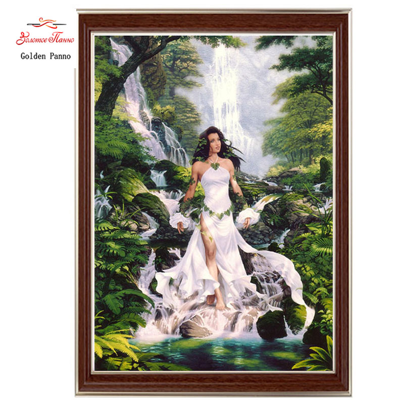 Golden Panno,Needlework,DIY DMC Cross Stitch,Sets For Embroidery Kit 14ct Unprinted Cotton Thread Forest Fairy Cross-Stitching