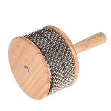 Деревянный Кабаса ударный музыкальный инструмент металлическая бисерная цепь и цилиндр Поп ручной шейкер для класса группа среднего размера
