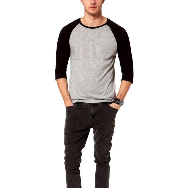 Casual 3/4 manga simples camisa de algodão verão primavera camiseta masculina tops raglan manga pullovers moda masculina topos
