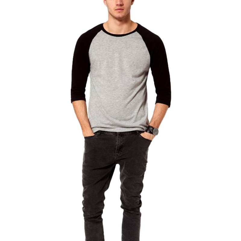 Casual Men 3/4 Sleeve Plain T-Shirt Cotton Summer Spring Men Tee Tops Raglan Sleeve Pullovers Fashion Men Tops