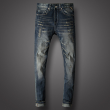 Vintage Fashion Men Jeans Dark Blue Destroyed Ripped Jeans For Men Slim Fit Hip Hop Trousers hombre Streetwear Classical Jeans