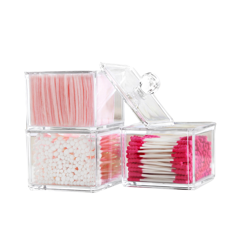 XUNZHE Square Acrylic Cotton Swab Organizer Box Assemblage Container Storage Case Make Up Cotton& Jewelry Case for Cosmetics
