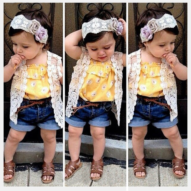 00dbbd07e 2015 new summer toddler baby girls yellow shirt+short jeans pants+cappa+hair  band 4 pieces Kids Children Clothes Clothing Set