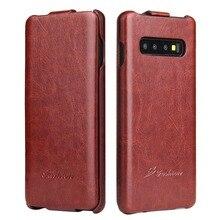 Lüks Retro R64 Pu deri Flip Case Samsung Galaxy S10 S8 artı S9 not 8 S7edge dikey telefon kapak