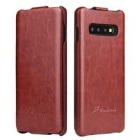 Cep telefonları ve Telekomünikasyon Ürünleri'ten Döner Kılıflar'de Lüks Retro R64 Pu deri Flip samsung kılıfı Galaxy S10 S8 artı S9 not 8 dikey telefon kapak